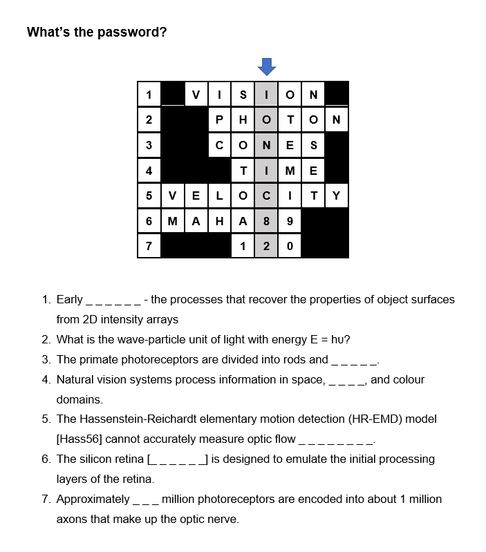 screenshot of a puzzle created in Microsoft Word