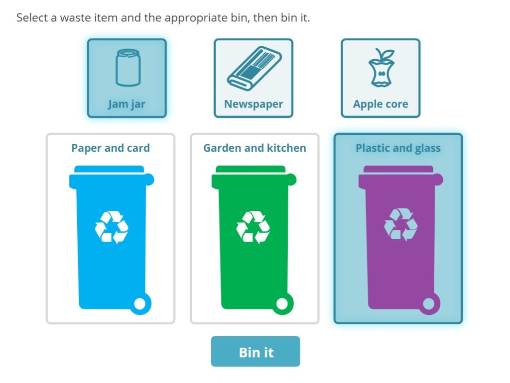 A sorting interaction for recycling