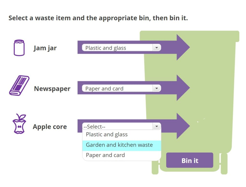 A dropdown interaction for sorting recycling items